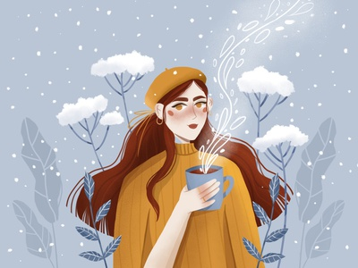 Girl with coffee childrens illustration character design vector art character vector illustration digital illustration digital art design illustration art illustration