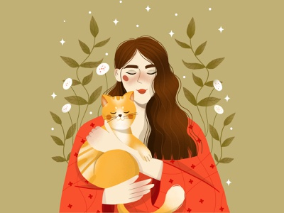 Grl with ginger cat childrens illustration character design vector art character vector illustration digital illustration digital art design illustration art illustration
