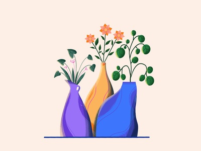 Vases with plants vector character design character vector art vector illustration design digital illustration digital art illustration illustration art