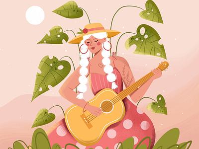 Guitar lady character character design graphic design vector art vector illustration digital illustration digital art illustration design illustration art