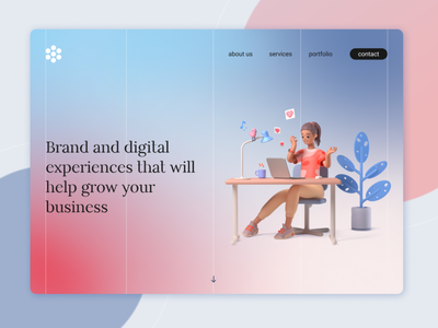 Landing page design for the brand and digital agency landing page uidesign design ui ui design dailyuichallenge dailyui daily 100 challenge