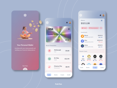Personal Wallet Application daily 100 challenge uidesign ui design dailyui dailyuichallenge crypto banking app ui