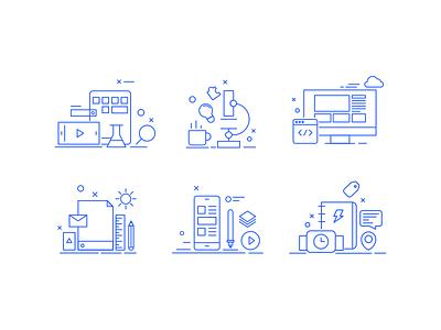 Services Icon line art illustration services icons design