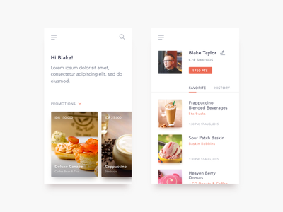 Loyalty App food clean profile ios ui minimal app loyalty
