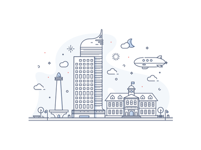 Landmarks of Jakarta building landmark jakarta icon vector simple flat city line art illustration