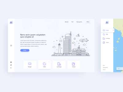 Landing Page Concept web dashboard jakarta icon illustration map clean landing page
