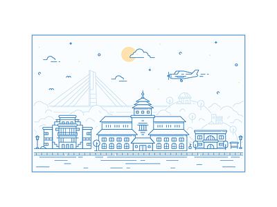 Landmarks In Lines (Bandung) icon bandung city illustration line art landmarks