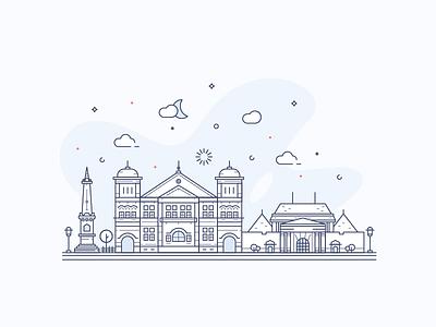 Landmarks In Lines (Yogjakarta) building icon yogyakarta city illustration line art landmarks