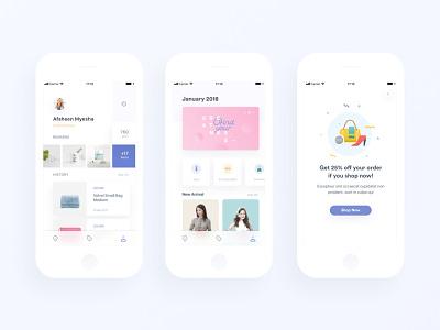 Loyalty App II category ui illustration app loyalty ecommerce reward ios minimal promotion profile clean