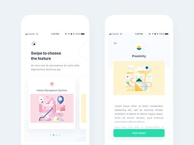 Techies App - Concept ui home clean pastel beacon detail illustration card app ios