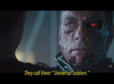 "They call them "" Universal Soldiers "" cyberpunk arnold schwarzenegger concept art terminator"
