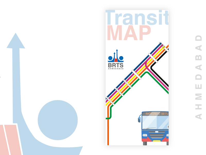 BRTS Transit Map Concept conceptart buses map road road map brts ahmedabad vector typography flat ui clean design branding illustration