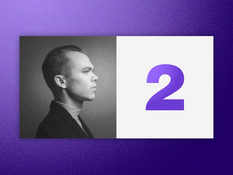 Number 2 purple grain clean ux-design color number webpage illustrator typogaphy