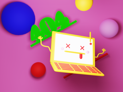 404 laptop branding modeling 3d blender 404 page 404 error