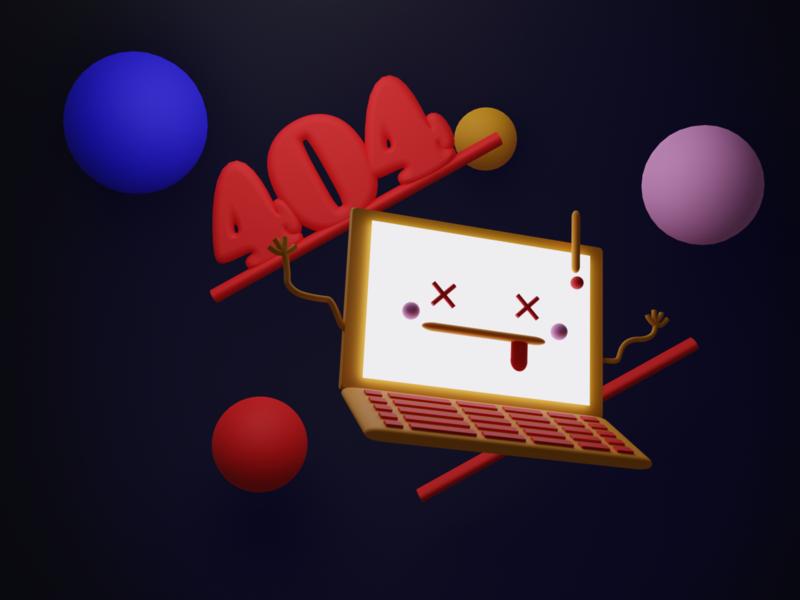 404_Dark 3dart modeling laptop blender clean 3d branding