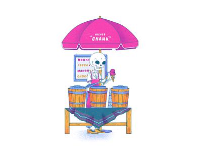 Nieves Chana icecream skull mexican art procreate illustration