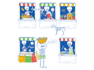 El mercado de los muertos market food procreate mexican art skull illustration