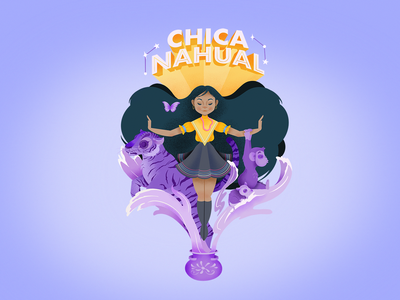 Chica Nahual superhero animals mexican culture procreate mexican art illustration