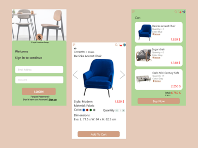 E-Commerce Furniture App ui-design furniture arch