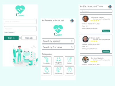 Cure (Medical Application) uidesign ui-ux ux-design