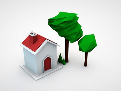 First house | C4D Low poly house trees low poly house c4d 3d