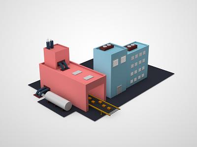 Factory low poly c4d factory 3d
