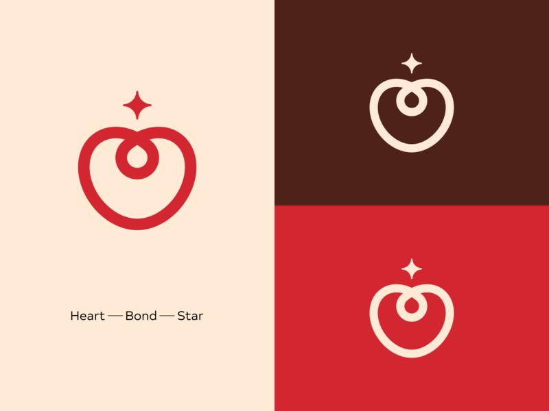 Heart + Bond + Star art illustrator branding minimal icon vector design logo
