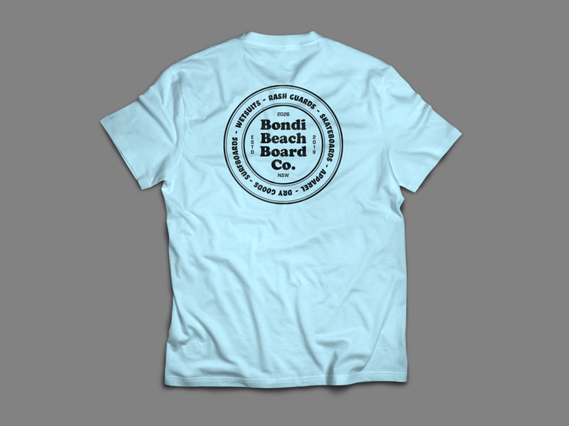 Bondi Beach Board Co T Shirt no.1 apparel mockup branding bondi screen print logo surf apparel logo apparel design design typography type