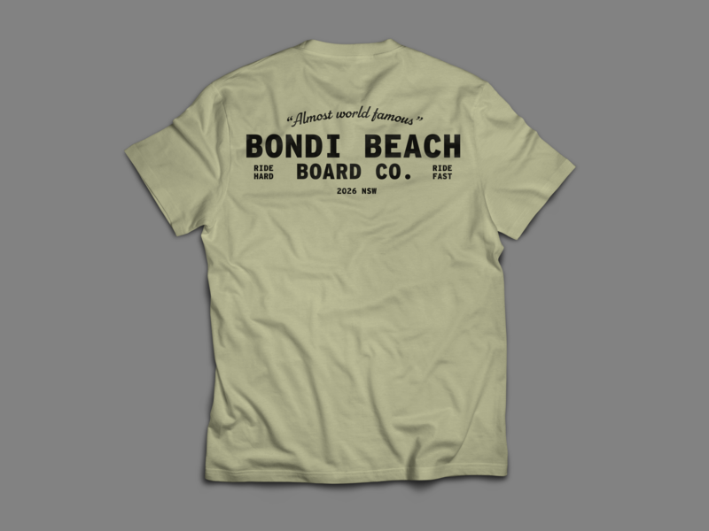 Bondi Beach Board Co. T Shirt no.2 branding logo design apparel design apparel illustration typography