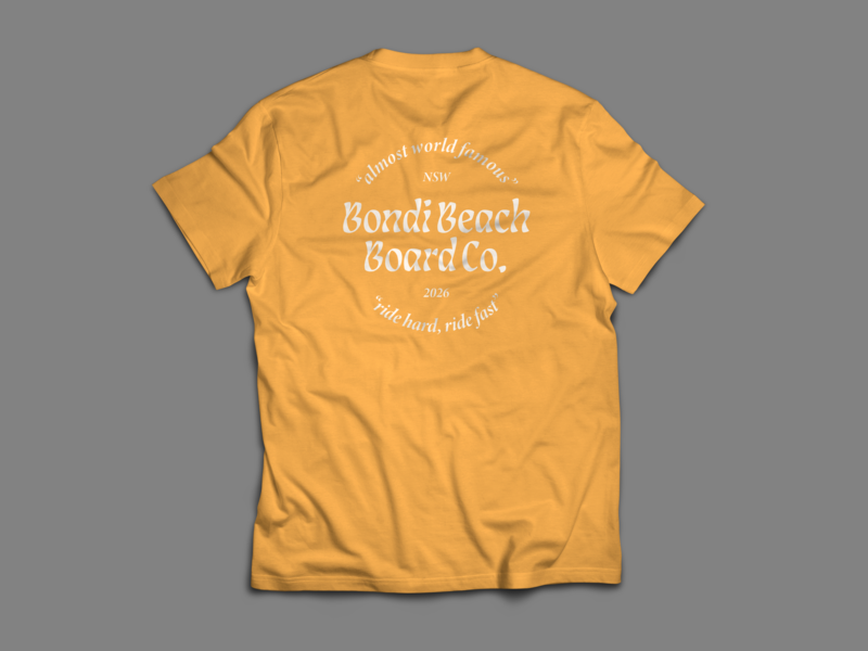 Bondi Beach Board Co. T Shirt no.3 bondi apparel design apparel branding logo type design illustration typography