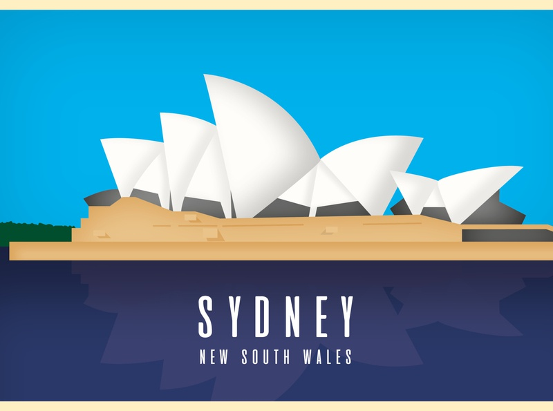 Sydney Opera House Postcard flat design aussie australia landmark sydney opera house sydney vector design illustration