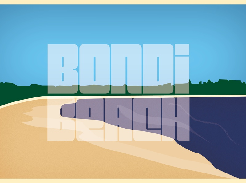 Bondi Beach Postcard scene postcard australia bondi type vector design illustration