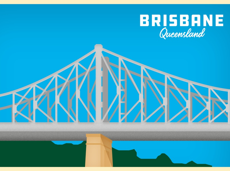 Aussie Postcards pt.3 - Brisbane postcard bridge australia brisbane vector typography design illustration