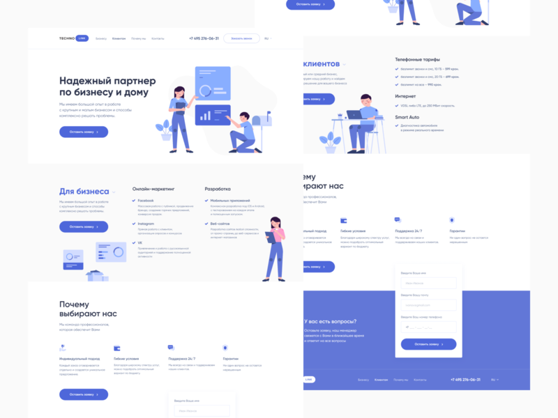 Techno Link - One Page Design principle animation android app development iosdevelopment webdevelopment studio development tech technical technology promopage onepage design ui