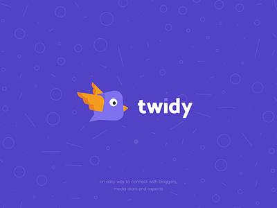 Twidy service identity branding bird logotype messenger illustration iosapp logo app design