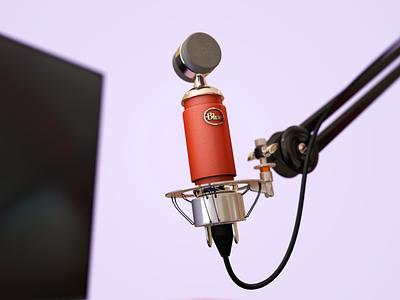 Streamer Mic c4d illustration blue spark materials render 3d modeling 3d maya microphone