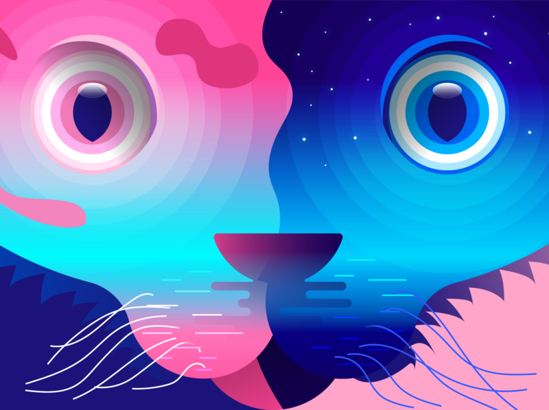 Two Faced Cat design illustration vector