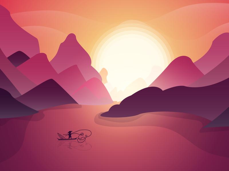 Vietnam Sunset vector design illustration