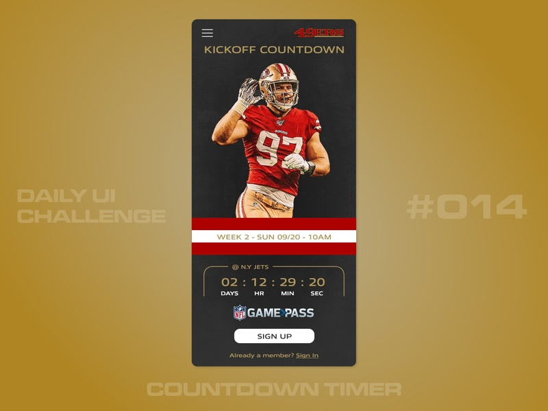 Daily UI - 014 - Countdown Timer nfl 49ers sports 014 uidesign daily 100 ui dailyui daily 100 challenge