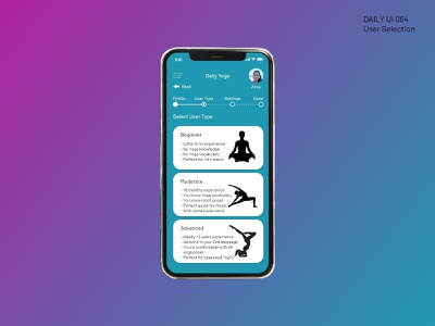 Daily Ui 064 - User Type Selection mobile design app yoga app user profile 064 ui daily 100 dailyui daily 100 challenge