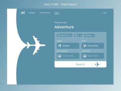 Daily UI 068 - Flight Search e-commerce website flights flight booking flight search 068 uidesign daily 100 dailyui daily 100 challenge
