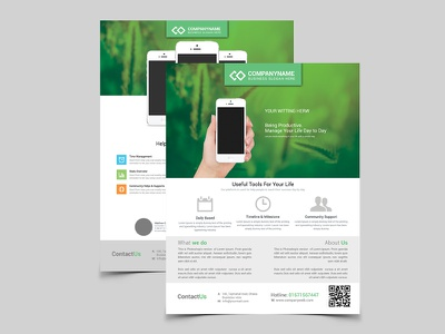 App Promotion Modern Flyer/Poster Template  android app promotion app screen application banner clean creative design download flyer ios poster