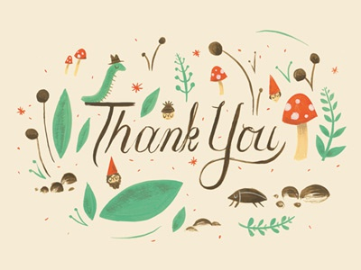 Thanks thank you bug gouache illustration mushroom gnome card