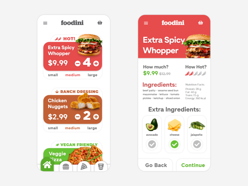 Foodini - Delivery App Design ux branding ui idea minimal app design food chicken nuggets pizza burger clean restaurant ordering delivery fast food