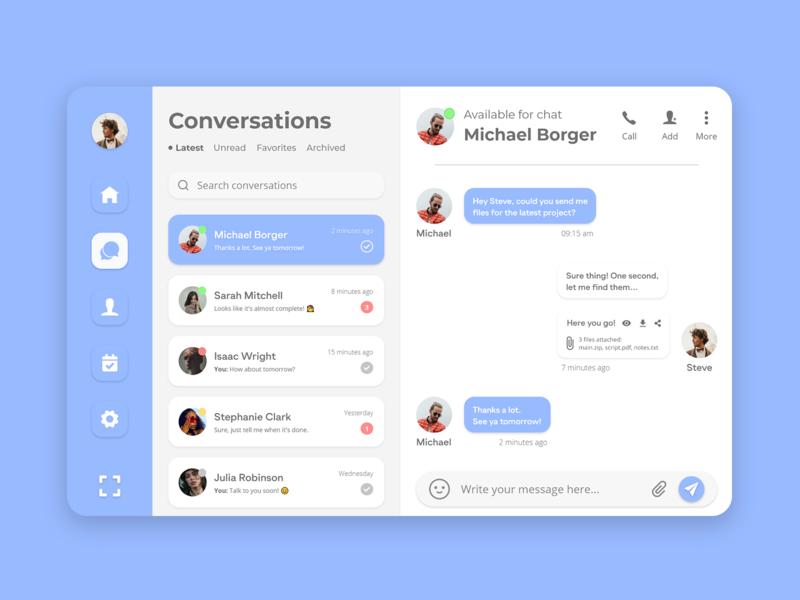 Chatty - Instant Messaging Design group chat project profile fluent tablet desktop typogaphy interface flat landing page conversation messaging ui dashboad design idea inspiration minimal clean chat