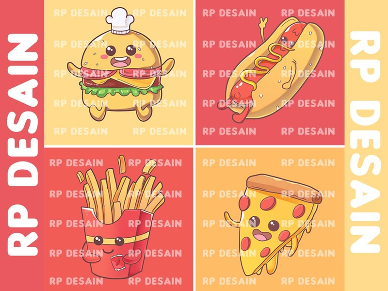 food Ilustration food illustration psd design french fries hotdogs cute illustration cute pizza burger mascot illustration