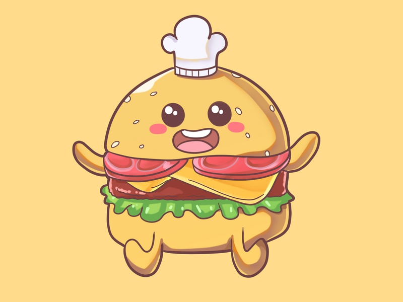 burger branding cute mascot illustration mascot food mascot food cute illustration cute food illustration burger