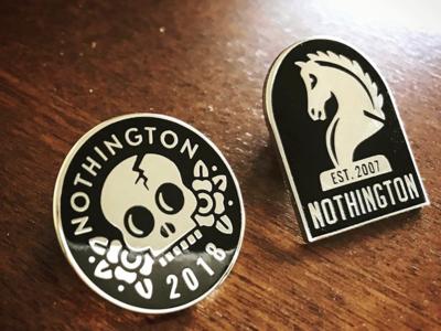 Nothington Enamel Pin Set metal illustration skull knight pins enamel nothington logo illustrator