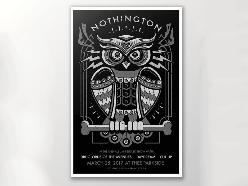 Silk Screened Album Release Concert Poster for Nothington gig poster bird graphic design owl art nothington design illustrator illustration