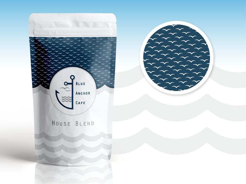 Blue Anchor patterns and packaging design coffee bag packaging design packaging brand pattern brand assets brand development branding logo